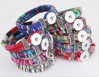 Wholesale Winding Unisex Woven Bracelet - 2017 Weaving Bracelets Interchangeable Button Jewelry National Wind Circle Snap Charms Bracelet Fashion Jewelry 10 Colors 18mm Metal Button