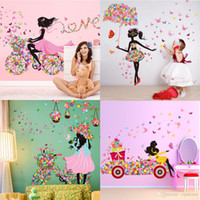 Wholesale Pink Fairy Wall Stickers - DIY Beautiful Girl home decor wall sticker flower fairy wall sticker decals Personality butterfly cartoon wall mural for kid's room