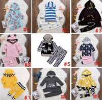 Wholesale Tshirt Coat Pants - INS XMAS Spring Children Boys Girls Striped 2pc set Hooded outfits infant leopard chevron floral coat tshirt & girls boys striped short pant
