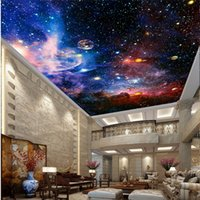 Wholesale Wood Space - Custom 3D Photo Wall Murals Star Space for Living Room Hotel Lobby Meeting Room Ceiling Zenith Mural wall papers