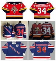 Wholesale Rangers Ccm Jersey - JOHN VANBIESBROUCK Florida Panthers 1996 CCM Vintage Hockey Jerseys 34 JOHN VANBIESBROUCK New York Rangers 75th Blue Stitched Jersey Cheap