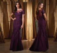 Wholesale New Designs Floor Gowns - Dark Purple Mermaid Mother Of The Bride Dresses Sheer Scoop Neckline Wedding Guest Dress Custom Made New Design Party Gown With Appliques