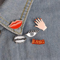 Wholesale Wedding Bangs - BANG AWESOME!! Sexy Red Lip Hand Eye Cute Pin Rooch Set Jeans Hat Jacket Badge Family Friends Gift