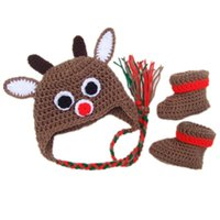 Wholesale Photo Nose - Rudolph Red Nose Reindeer Newborn Outfits,Handmade Crochet Baby Boy Girl Moose Hat and Booties Set,Christmas Costume,Infant Photo Prop