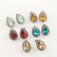 Wholesale Earrings Stud Finding - NEW Style ~ 10Pair Mixed Color Pave Rhinestone Water Drop Shape Crystal Stud Earrings Jewelry Finding