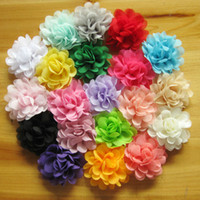 Wholesale Wholesale Lined Hair Clips - Baby Girls Chiffon Flower Ribbon Barrettes kids Hairpin 20 colors with all ribbon Lined Clip children hair accessories bobby pin KFJ66