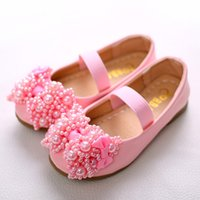 Детские девушки Pearl Shoes Baby Girl Bow Casual Flat Sandals 2017 Pink White Princess Cow Muscle Round Toe Sandals Детская обувь для девочек B268