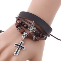 Discount leather rope wood cross Multi-layer Cross Pendant Charm Bracelet for Men Unisex Casual Genuine Leather Bangles Wood Bead Fashion Jewelry Wholesale