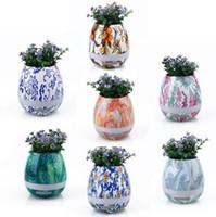 Wholesale Led Lights Flower Pot - Painting Music Flower Pot Colorful Smart Touch Sensor Bluetooth Flower Pot Music Player Speaker LED Light Lamp OOA2248