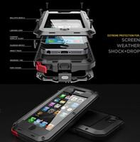 galaksi s5 goril camı toptan satış-Alüminyum Cam Darbeye Su Geçirmez Kılıf Samsung Galaxy S5 S6 S7 kenar Not 5 Güç Gorilla iPhone X 6 6 s 7 Artı Telefon için Koru ...