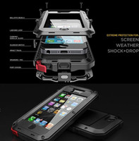 Wholesale Iphone Gorilla Glass Cases - Aluminum Glass Shockproof Waterproof Case For Samsung Galaxy S5 S6 S7 edge Note 5 Power Gorilla Protect for iPhone X 6 6s 7 Plus Phone Cover