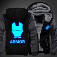 Wholesale iron fleece - Wholesale- USA size Men Women Iron Man Sweatshirts Hoodie Luminous Unisex Thicken Jacket Coat