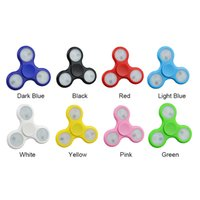 Wholesale Led Plastic Cube - 6 Colors Glow Hand Spinner Fidget Stress Cube LED Fidget Spinner Plastic EDC Tri-Spinner Fidget Toy Wholesale 3003008