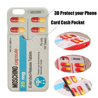 Wholesale Silicon Rubber Wallets - 3D Soft Silicon Case Capsule For iPhone 8 7 6 Plus Cartoon Pill Tablets Medicine Bottle Rubber Phone Back Cover Cases Card Holder Shockproof