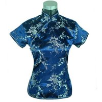 Wholesale Womens Chinese Blouses - Special Offer Navy Blue Womens Blouse Satin Shirt Top Mujeres Camisa Chinese Traditional Clothing Flower Size S M L XL XXL A0025