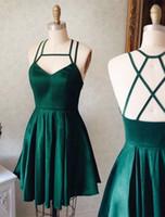 Wholesale Dresses Grade Graduation - 2017 Newest V-neck Green Satin Homecoming Party Dresses Mini Short 8th Grade Graduation Dresses Sweet 16 Dresses Vestido De Fiesta