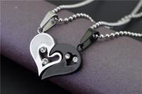 Wholesale Heart Shape Couple Necklace - Heart shaped titanium love couple necklace Dedicated couple(pair) necklace heart - shaped diamond pendant gift couple pendant Korean jewelry