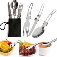Wholesale Portable set Folding Stainless Steel Fork Spoon Camping Picnic Tableware Utensil with Bag for Outdoor Hiking