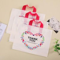 Wholesale Printed Plastic Shopping Bags - Creative 32*25cm White Plastic Shopping Bag with Handle Carrier THANK YOU Heart Flowe Print Boutique Packaging CCA6650 200pcs