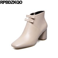 Side Zip Boot Chunky Big Size Automne Femmes Ankle Cute Bow Cuir véritable Kawaii Chaussure de luxe High Heel 10 Booties Beige Square Toe