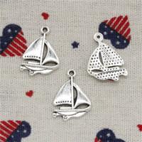 Wholesale Sail Pendant - Wholesalecs- 241pcs Charms sailing ship boat 24*17mm Pendant,Vintage Tibetan Silver,For DIY Necklace&Bracelets Jewelry Accessories