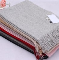 Wholesale Pashmina Shawls Plain Color - Elegant Acne Pure Color Pashmina Virgin Wool Cashmere tassels Scarf Shawl Unisex