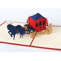 Wholesale Card Love Kirigami - 3D Pop Up Paper Laser Cut Greeting Cards Creative Handmade Kirigami Wedding lnvitations Love Carriage Postcards Wishes Gifts