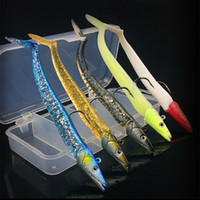 Wholesale Glow Soft Lures - New sale 1 set Sinking Pencil Shaped Fishing Lure Jig Head Soft Fish Glow Baits about 11cm 22g Lures Hooks For Long Range Casting