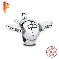 uçak bilezikleri toptan satış-BELAWANG Gerçek 925 Ayar Gümüş Uçak Uçak Yüzer Charms Fit Pandora Charm BraceletsBangles DIY Düzlem Fighter Toptan Takı