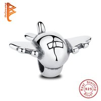 BELAWANG Real 925 Sterling Silver Aircraft Aircraft Flottant Charms Fit Pandora Bracelet Charm Bangles Bricolage Avion Fighter Wholesale Bijoux