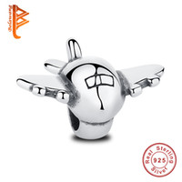 Wholesale Aircraft Fittings - BELAWANG Real 925 Sterling Silver Airplane Aircraft Floating Charms Fit Pandora Charm Bracelets&Bangles DIY Plane Fighter Wholesale Jewelry