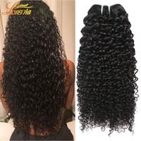 cabello humano 7a al por mayor-Longjia Products 3 Unids / lote 7A pelo humano peruano onda rizada profunda del pelo humano teje paquetes Kinky rizado peruano virgen cabello humano