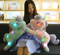 Wholesale Light Up Pillows - 20170702 HANCHENEXP Running Unicorn Plush Toy Pink Blue LED Unicorn Stuffed Soft Doll Night Light Up Unicorn Plush Toy Glowing Pillow