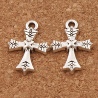 Sword Dots Cross Charm Beads 120pcs / lot 15.4x21.6mm Tibetan Silver Pendants Fashion Jewelry DIY L434
