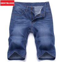 Wholesale Jeans Breeches - Wholesale- Summer Casual Navy Blue Men Denim Breeches Shorts Bermudas Jeans Masculina Homme Male Short Jeans Men Shorts Men Trousers