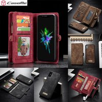 Wholesale Iphone Magnet Wallet Cases - Caseme For APPLE iPhone X Wallet Case Split Leather Zipper Bag Multi Slot Case for iPhone8 Magnet Back Cover