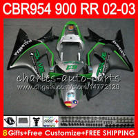 Wholesale cbr 954 fairings - Body For HONDA CBR900RR CBR954 RR CBR954RR 02 03 CBR900 RR 66HM10 Green silver CBR 900RR CBR 954 RR CBR 954RR 2002 2003 Fairing kit 8Gifts