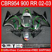 Wholesale honda 954 injection fairing resale online - Body For HONDA CBR900RR CBR954 RR CBR954RR CBR900 RR HM10 Green silver CBR RR CBR RR CBR RR Fairing kit Gifts
