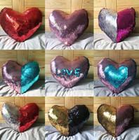 Wholesale Heart Pillow Cover - Heart-Shaped Pillow Cases Mermaid Sequins Pillow Case cover Home Decorative Pillowcase Sofa Cushion cover Sequin Glitter Cushion KKA1261