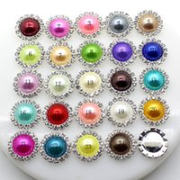 Wholesale 15mm Round Pearls - 100pcs lot 15mm Round Metal Crystal Rhinestone Button With Pearl Center Wedding Hair Embellishments DIY Accessory Decoration