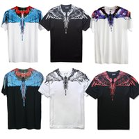 Wholesale Feathered Clothing - 2018 New Summer Men Women Marcelo Burlon T-Shirt Feather Wings Fashion Brand Clothing High Quality Marcelo Burlon T Shirts