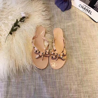 Wholesale Jelly Nude Heel - Free shipping Designer nude size35-41 Women jelly sandals bowknot studded flip flops pvc flats thong sandals
