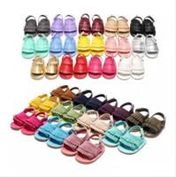 Wholesale Summer Sandal Wholesale - baby PU moccasins sandals soft soles and elastic baby tassel shoes Summer prewalker Infant Babies Shoes 26 Colors