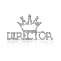 "Wholesale Words Rhinestones Pins - Wholesale- ""DIRECTOR"" Word Pin With Crown On Top Rhinestone Hand-made Brooch Jewelry"