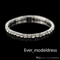 Wholesale Silver Dresses Bangles - 2017 Row Rhinestone Stretch Bangle Wedding Bracelets Bridal Jewelry Cheap Bracelet for Bride Party Evening Prom Dress