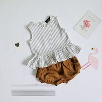Wholesale Lovely Fruits - New INS 2017 Infant Summer baby Striped sets vest Lotus leaf dresses+short pant lovely kids fruit clothing sets clothing