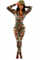Wholesale Sexy Female Soldiers - Wholesale- 2017 female overalls for women sexy v neck long sleeve skinny jumpsuit printed bodycon rompers The Army Soldier Catsuit LC6918