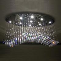 kristallwellen-kronleuchter licht großhandel-Freie ovale Vorhangwelle des Verschiffens moderne Leuchterkristalllampenwohnzimmerlampen-Hotelbeleuchtungsgröße: L750 * W250 * H650mm