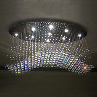 Wholesale Curtains Dining Room - Free shipping oval curtain wave modern chandeliers crystal lamp living room lamp hotel lighting size:L750*W250*H650mm