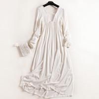 Wholesale Princess Pyjamas - Wholesale- Free Shipping 2017 New Princess Women's White Long Pyjamas Lace Nightgown Summer Sleepwear Ladies pijamas femininos